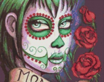 Modern Day Of The Dead - Monster  Cross Stitch Kit Day of the Dead Sugar Skull By Shayne of the Dead