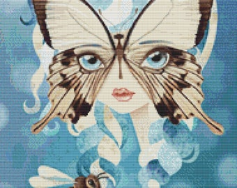 Modern Cross stitch Snow White fairytale art 'Niella'  by Sandra Vargas - Butterfly