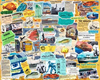 Vintage OCEAN CITY MD Fishing  Collage - Poster-size, signed Print