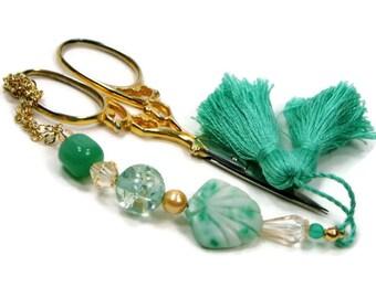 Beaded Scissor Fob Mint Green Seashell Scissor Minder