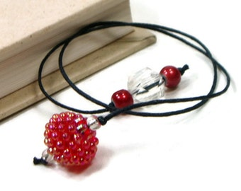 Book Thong Beaded Bookmark Red Book Cord String Bookmark Gift under 5 Book Club Teacher Gift
