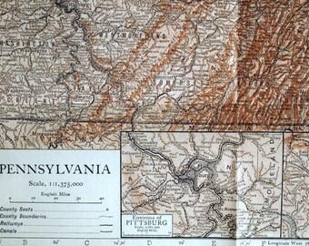 1911 Antique Map of Pennsylvania - Pennsylvania Antique Map - Antique Pennsylvania Map