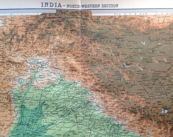 1922 Antique Map of India - Northwestern Part - Very Large map - India Antique Map