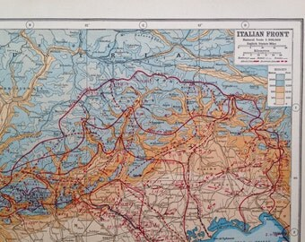 1922 Antique Map of the Great War. The Italian Front