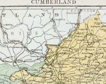1877 Vintage Map of Cumberland, the UK - Antique Cumberland Map