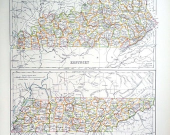 Large Antique Map of Kentucky and Tennessee - 1890 Vintage Map