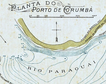 1922 Antique Map of the Port of Corumba, Brazil - Brazil Antique Map - Small and Tan and Old and Lovely Map - Antique Brazil Map