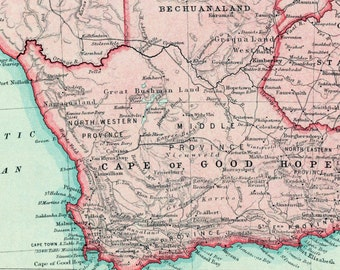 Antique Map of South Africa. Published ca. 1922