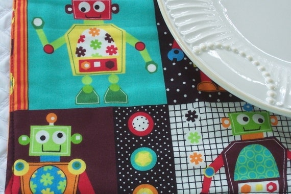 Kids single fabric placemat space robots lunchbox for Space boy fabric