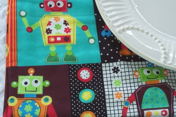 Kids single fabric placemat space robots lunchbox for Kids space fabric