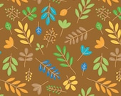 COUPON CODE SALE - End of Bolt - Riley Blake, Zoofari, Organic Cotton, Leaves, Brown Fabric, 100% Cotton Quilt Fabric, Quilting Fabric