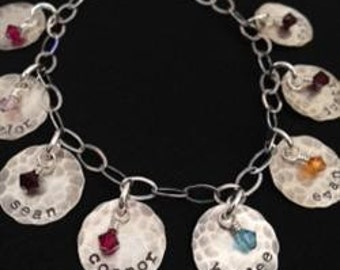 Charm Bracelet- HAND STAMPED and personalized charms, custom bracelet, stamped names