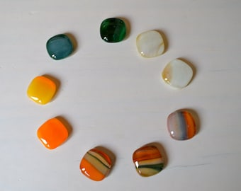 Winter Squash  Fused Glass Magnets with Tin
