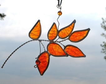 Autumn Branch Stained Glass Suncatcher