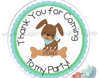 Personalized Puppy Thank You Stickers