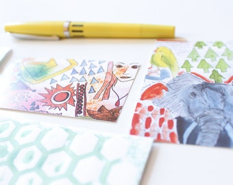 flat mini notecards, blank, for short notes or hello or i love you. taken from the pages of my sketchbook. spread some art and love. say hi.