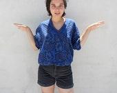 Blue Abstract Paisley Sweatshirt Sweater Vintage 80s M Mens