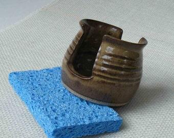 Sponge Holder, Rustic Brown, Handmade Ceramic Kitchen, Bathroom Spongeholder, Hostess Gift, Brown Spongie