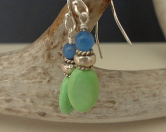 Gaspeite Earrings -  Blue Chalcedony Earrings - Dangle Earrings - Lime Green Earrings - Blue Earrings - Natural Stone Jewelry