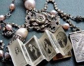 RESERVED for F  Antique Assemblage Necklace French St Therese Album Locket Blush Pearls Rhinestones