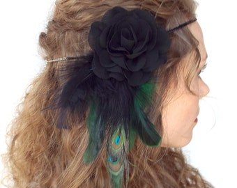 Peacock and Black Rose Headdress