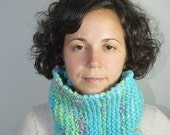 Turquoise and Green Handspun Handknit Cowl, Neck warmer, Winter Accessory, Wool and Silk, US Sheep, Alpaca, Organic