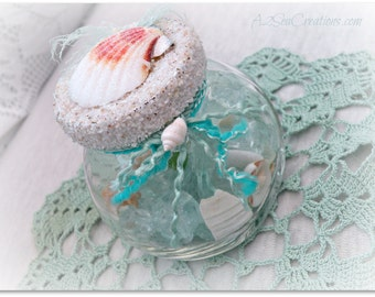 Beach Treasure Jar - Aqua Glass, Beach Cottage Decor, Beach Wedding, Ornament