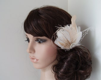 Wedding Hair Accessory, ivory hair clip, Bridal Hair Piece Bridal Feather Fascinator, Feather Hair Piece, Accessories