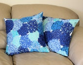 "One Decorative Throw Pillow in Blue Chrysanthemum Cotton Fabric - 16"" or 18"" Cover. B1-5"