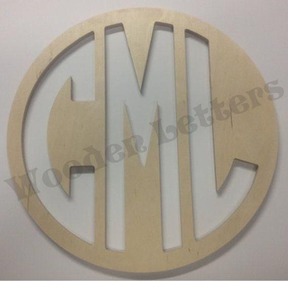 Circle Reverse Cut Monogram Letters Unfinished