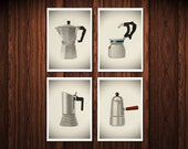 Set of four prints Vintage Italian coffee makers 8 x 11.5 kitchen home decor coffee lovers