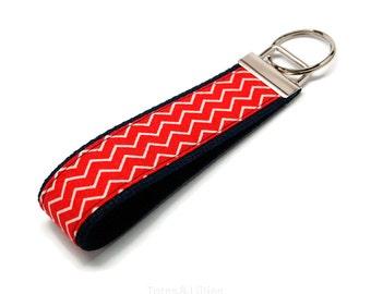 Dark Red Chevron Fabric on Navy Blue Webbing Key Fob Keychain
