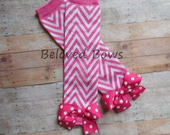 Hot Pink Chevron Leg Warmers with Hot Pink Polka Dot Bows for Baby Toddler and Tween