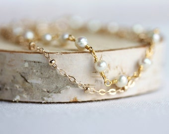 Delicate Pearls Bracelet on Gold Filled Chain, Delicate Gemstone Jewelry, Double Chain Bracelet,Handmade by Maki Y design