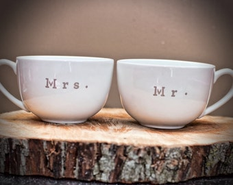 Mr. And mrs. Wedding coffee mugs (his and hers)