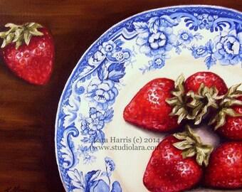 Strawberries on Blue Vintage Plate Fine Art Giclee Print by LARA 5x7
