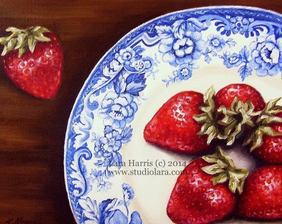 Strawberries on Blue Vintage Plate Fine Art Giclee Print by LARA 8x10