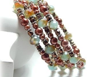 Chocolate Brown Bracelet, Fall Bracelet, Pearl Cuff Bracelet, Crystal Bracelet, Brown Cuff Bracelet