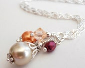 Bead Cluster Pendant, Cranberry and Orange Beaded Bridesmaid Necklace, Fall Wedding Jewelry Set, Bridesmaid Gift, Plated or Sterling Silver