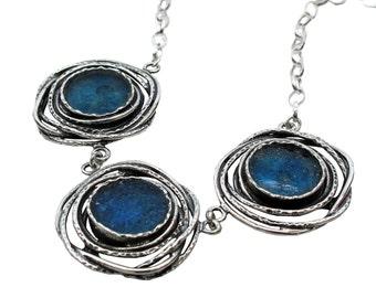 Blue Roman Glass Fantasy Necklace, Boho Chic 925 Silver Necklace, Roman Glass Artisan Necklace, Israel Jewelry, 3 Charm Roman Glass Necklace