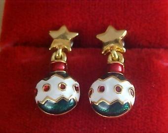 Charming CHRISTMAS ORNAMENT Rhinestone & Enamel Post Earrings