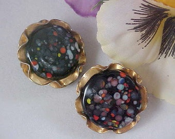 Stones Embedded Under Glass JEWELS by JULES Gold Plate Clip Earrings