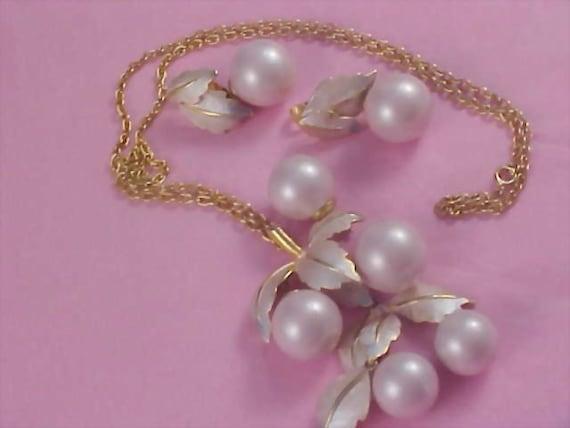 Ice Pink Glass  CHERRIES~ Pendant - Chain - Brooch - & Dangle Earrings by Designer PARK LANE