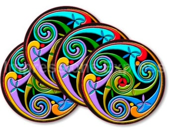 Celtic Triskelion Coasters - Set of 4