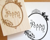 4 x 3 in - YOUR CUSTOM DESIGN - Business Card - Art Wood Mounted Rubber Stamp - For Logo, Branding, Packaging, Invitations, Party, Favors