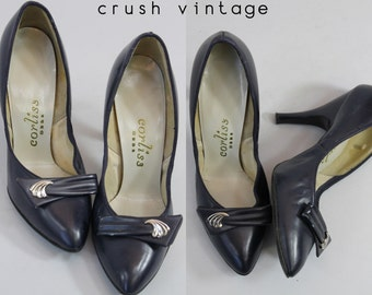 1940s Corliss Debs Shoes Size 5 / 40s Vintage Shoes /  Waterfall Pumps