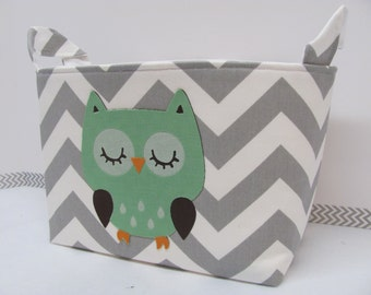 NEW Fabric Applique OWL LARGE Fabric Organizer Basket Storage Container Toy Bin Diaper Caddy Bag - Home Decor - Size Large - Grey Zigzag Owl