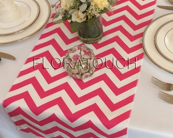 Hot pink Chevron Table Runner Zigzag Wedding Table Runner
