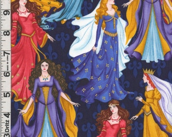Fabric Timeless Medieval Renaissance PRINCESSES metallic gold Gowns Crowns fleur de lis on blue out of print and rare SCA