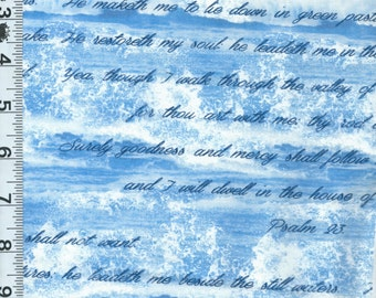Fabric Benartex Kanvas Bible Study collection 23RD Psalm Twentythird blue ocean waves David old testament  4886 BTY